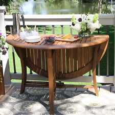 """48""""x48"""" Round Folding Wood Patio Dining Table w Umbrella Hole Lunch Picnic Porch"""
