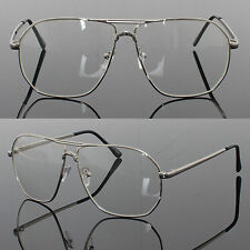 Mens Womens Retro Metal Frame Clear Lens aviator driving Designer glasses Silver