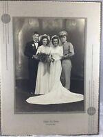 Old Vintage 1950s Wedding Party Portrait Photo Bride Groom Best Man Maid Honor