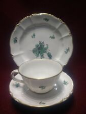 Nymphenburg Porcelain Trio cup saucer plate 1980 Green Gilt on white bone china