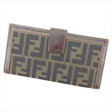 Fendi Wallet Purse Zucca Brown Beige Woman unisex Authentic Used E1271