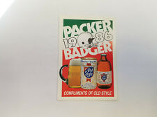 Green Bay Packers 1986 NFL Football Pocket Schedule - Old Style
