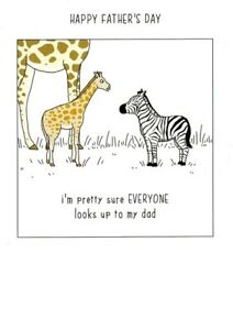 Funny Giraffe Everyone Looks Up To Dad Fathers Day Card - They Can Talk Design