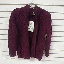 ARAN Crafts Full Zip Up Cable Sweater Red purple 100% Merino Wool Ireland Sz L