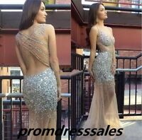 Shiny Beaded Long Formal Evening Dress Mermaid Party Pageant Prom Celebrity Gown