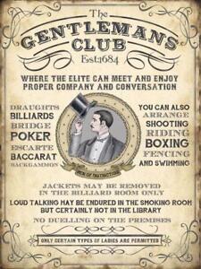 Die Gentlemans Club Vintage Stil Man Cave BAR Pub Klein Metall Stahl Wand Schild