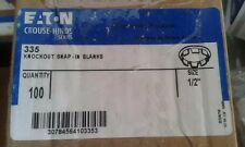 """EATON CROUSE-HINDS  335 KNOCKOUT SNAP-IN BLANKS 1/2""""  BOX OF 100 ORIGINAL NO TAX"""