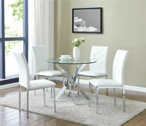 Round Glass Dining Table And Set of 4 White Faux Leather Chairs Chrome Legs
