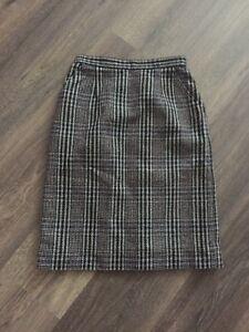 St Michael Black Beige Vintage Plaid Slid Knee Length Pockets Skirt Size 10
