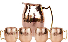 Pure copper Hammered Jug Pitcher Moscow Mule Pure Soli With Set of 4 Beer Mug