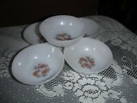 "5 Vintage Fire King Oven Ware Fleurette pink flower berry bowls -4.5"" across"