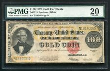 FR. 1215 1922 $100 ONE HUNDRED DOLLARS GOLD CERTIFICATE PMG VERY FINE-20