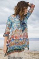 💕 JOHNNY WAS Embroidered MORELLI Scarf Print BLOUSE Roll Tab TUNIC L $278  💕