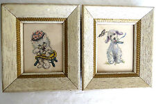 PAIR Dog and Cat Pictures Shabby White Frames Artwork by Donald Art Vintage EUC