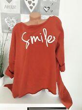 Italy Damen Oversize Pullover Kastenform 44 46 48NEU Vokuhila SMILE Rost braun