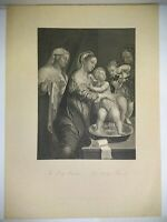 """""""The Holy Family"""" Steel Engraving Giulio Romano A.H Payne 11""""x8"""""""