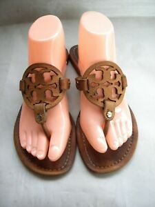 Tory Burch Miller Camel Leather Logo Flat Thong  Sandals Size 7 - 7.5