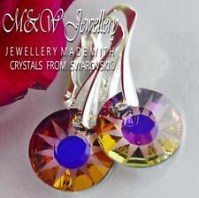 925 Silver Earrings Crystals From Swarovski® 12mm *SUN* Volcano - Partly Frosted