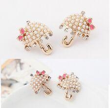 E250 Betsey Johnson Sunshine Gem Umbrella Travel Set Pearl w/ Bow Earrings UK