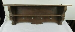 """Antique 28"""" Solid Oak Wood Wall Display Shelf  with towel bar and four hooks"""