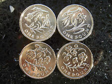SET OF 4 FLORAL £1 COINS - England Wales Ireland Scotland COIN HUNT CIRCULATED