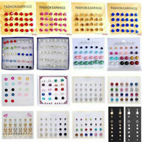 24Pair Women Fashion Rhinestone Crystal Pearl Ear Stud Earrings Set Jewelry Gift