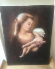 Vintage Oil Painting On Canvas Mother And Baby Child Embracing Signed Barb Knapp