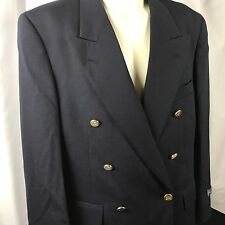 Burberry Blazer Sport Coat Jacket Mens 41S Wool Navy Blue Double Breasted NEW