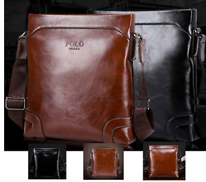 New Men Women Brown Black Leather Business Work Satchel Cross Body Shoulder Bag