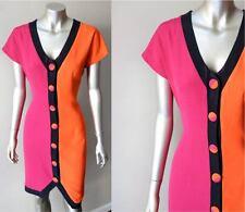 Colorblock Vintage 90s Crepe Button Plunging Sheath Pink Black Orange Dress M