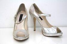 Steve Madden Heels 10M Silver Brytni Leather Open Toe Women's Shoes