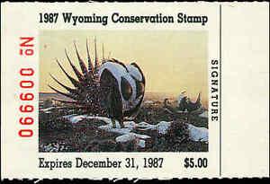 Wyoming #4 1987 État Canard Tampon Sage Grouse Par Ted Feeley