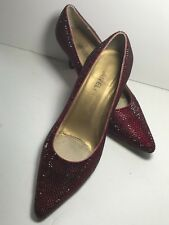 Van Eli Women Classic Heels Size 8.5 M Dark Red Burgundy Leather Sparkly shoes