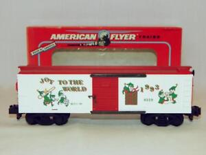 American Flyer 6-48319 Seasons Greetings 1993 Christmas Boxcar S gauge Elves JOY
