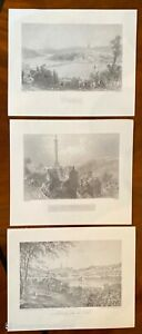 3 x Derry Londonderry Vintage Prints 1800's Northern Ireland Walker's Pillar