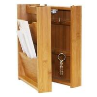 2 Tier Bamboo Letter Rack with Key Box Wall Mounted Decor Organizer Linen Store