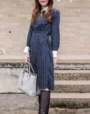 ZARA Navy Contrasting Polka Dot Midi Dress With Collar And Pleated Skirt XS
