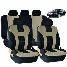 9PC DOUBLE STITCH BEIGE & BLACK POLY SEAT COVERS SET for CARS 1024