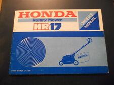 Honda Owners Manual Rotary Mower HR17
