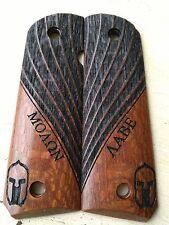 1911 Grips Molon Labe Leopard Wood