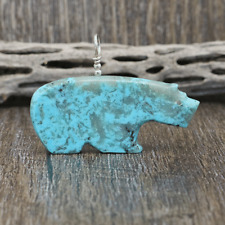 NATIVE AMERICAN ZUNI TURQUOISE BEAR FETISH PENDANT BY TODD WESTIKA
