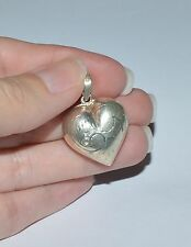 Vintage Sterling Sivler Etched Puffy Heart Pendant