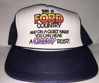 Vtg Ford mesh trucker hat Snapback car 80s 90s novelty mustang f100 thunderbird