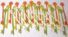 32 Vtg 60's Orange Green White Yellow Skeleton Key Cocktail Swizzle Stir Sticks