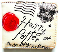 Harry Potter Bifold Wallet purse id window 2 card slot zip coin Hogwarts Stamp
