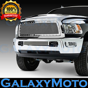 Front Hood Chrome Replacement Rivet+Mesh Grille+Shell for 13-18 RAM 2500+3500