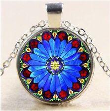 Vintage Mandragora Flowers Cabochon Tibetan silver Glass Chain Pendant Necklace