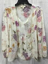 STYLE CO SPLITNECK SHEER FLORAL BLOUSE IVORY COMBO M -NEW WITHOUT TAG 3608