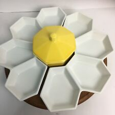 Vtg Mid Century Modern CA Pottery Lazy Susan Floral White Yellow Wooden Serving