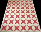 Antique+19th+Century+11-12+spi+Red+%26+Cheddar+4+Point+Feathered+Star+Quilt+80x66